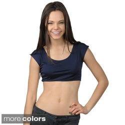 Fashion Corner Juniors Layering Cap Sleeve Silky Cropped Tee