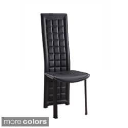 Long Back Tufted Leatherette Dining Chair