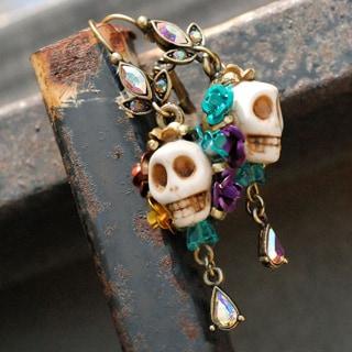Sweet Romance Colorful Skull and Crystal Teardrop Earrings