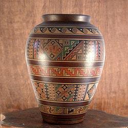 Handcrafted Ceramic 'Water Cult' Aged Cuzco Vase (Peru)