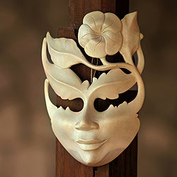 Handcrafted Hibiscus Wood 'Frangipani Summer' Mask, Handmade in Indonesia