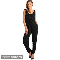 Stanzino Women's Sleeveless Ruffle Trim Jumpsuit