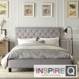 INSPIRE Q Kingsbury Grey Linen Tufted Platform King Bed