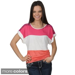 Journee Collection Juniors Striped Scoop Neck Colorblocked Top