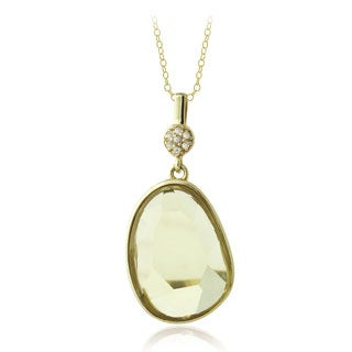 Glitzy Rocks 18k Gold over Silver Lemon Quartz and White Topaz Necklace
