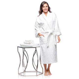 Spa Shawl Collar Full Length Cotton Bath Robe with Bonus 3-piece Towel Set