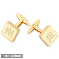 Gold Overlay Engraved and Polished Square Cuff Links