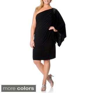 R & M Richards Plus Size One Shoulder Embellished Dress