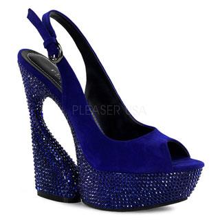 Pleaser Day & Night Women's 'Swan' Suede Peep-toe Slingback Heels