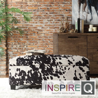 Inspire Q Kayla Black Cow Hide Fabric Storage Bench Ottoman