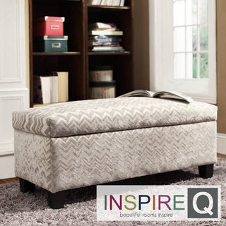 Inspire Q Kayla Hip Chevron Stripe Fabric Storage Bench Ottoman