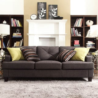 Middleton Collection Charcoal Linen Tufted Sloped Arm Sofa