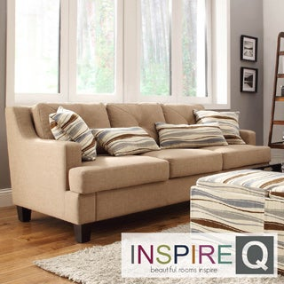 Inspire Q Middleton Camel Linen Tufted Sloped Arm Sofa