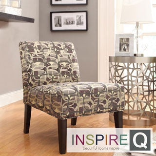 Inspire Q Kayla Fun Geometric Fabric Armless Lounge Chair