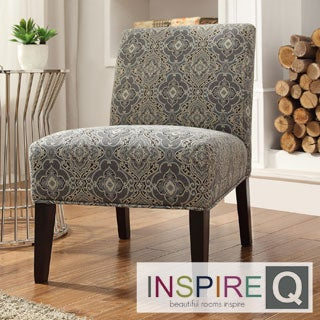 Kayla Medallion Floral Fabric Armless Lounge Chair