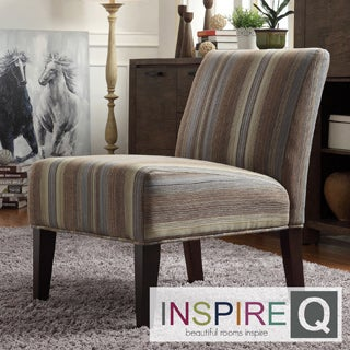 Inspire Q Kayla Seamless Stripe Fabric Armless Lounge Chair