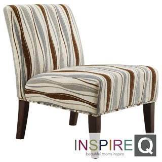 Inspire Q Kayla Pastel Wavy Stripe Fabric Armless Lounge Chair