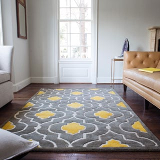 Hand-tufted Logan Grey/ Gold Wool Rug (3'6 x 5'6)