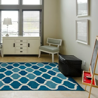 Hand-tufted Logan Cobalt Blue Wool Rug (3'6 x 5'6)