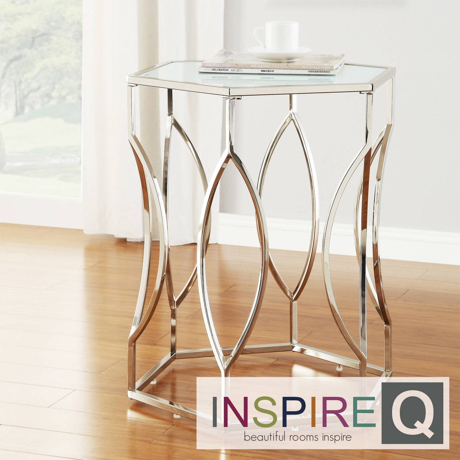 Inspire Q Inspire Q Kona Contemporary Chrome Glass-Top Hexagonal Accent Table