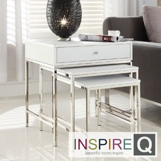 Kona Contemporary 1-Drawer Chrome Nesting Accent Table