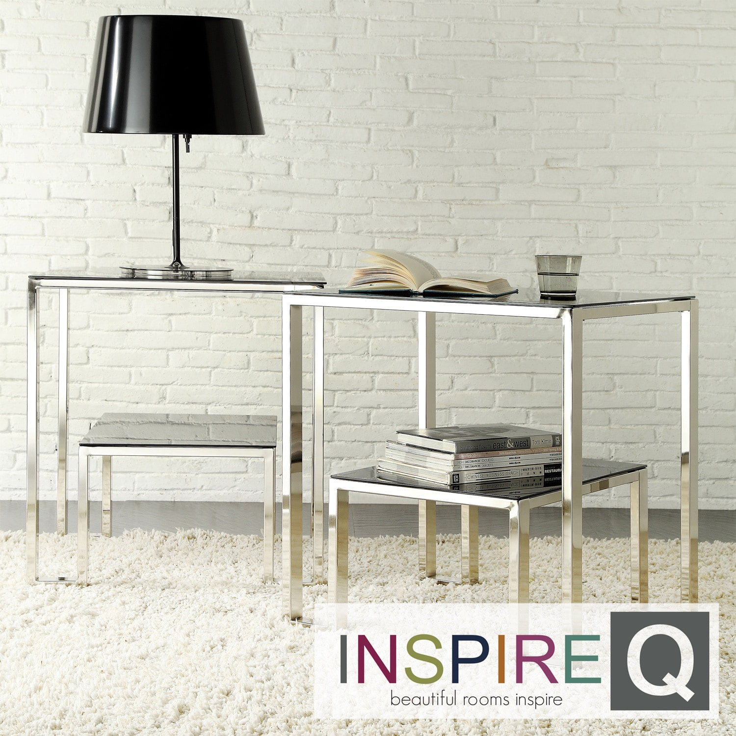 Inspire Q Inspire Q Kona Contemporary Chrome Nesting Glass-Top Accent Table