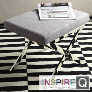 Inspire Q Santos Contemporary Chrome Finish Grey Linen X-base Vanity Stool