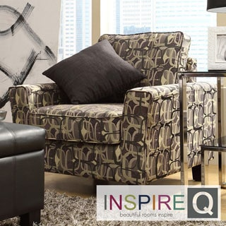Inspire Q Hampton Fun Geometric Print Upholstered Track Arm Chair