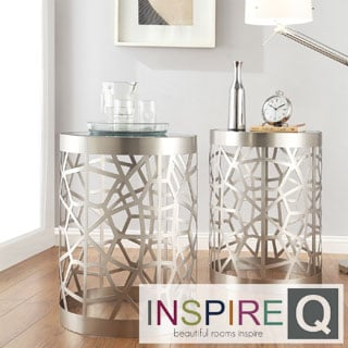 Inspire Q Mundo Contemporary Cylindrical Webbed Sidewall Glass Top Side Table
