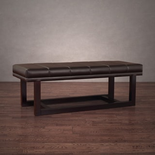 Modern Dark Brown Leather Loft Bench