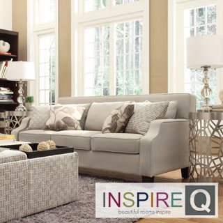 Inspire Q Harrison Beige Grey Linen Sloped Track Arm Sofa