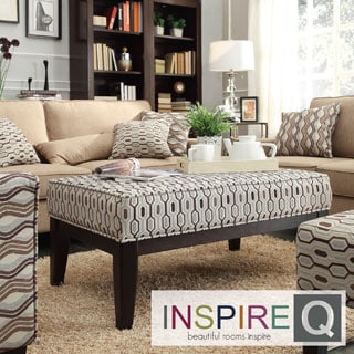 Inspire Q Kayla Chain-link Fabric Upholstered Cocktail Ottoman