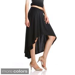 Stanzino Women's Solid High-low Banded Waist Skirt
