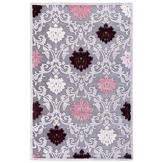 Transitional Floral Pink/ Purple Rug (5' x 7'6)