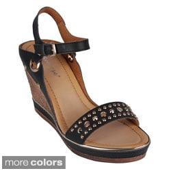 Reneeze 'CALM-04' Women's Studded Wedge Sandals