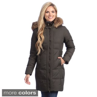 Larry Levine Women's Long Down-filled Hooded Coat