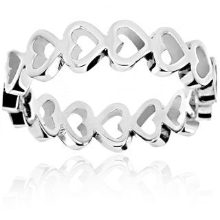 Stainless Steel Open Heart Eternity Ring