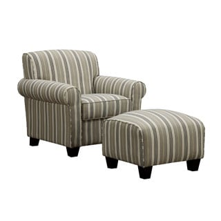 Portfolio Mira Taupe Stripe Arm Chair and Ottoman