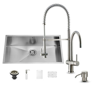 VIGO All-in-One 32-inch Undermount Stainless Steel Kitchen Sink Faucet Set