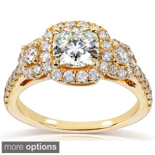 Annello 14k Gold Cushion-cut Moissanite and 3/4 ct TDW Diamond Engagement Ring (G-H, I1-I2)