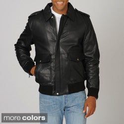 Whetblu Men's Mahogany Classic Bomber Leather Jacket