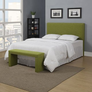 Portfolio Upton Apple Green Linen Full/Queen Headboard and Bench Set