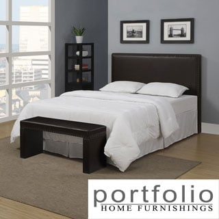 Portfolio Upton Brown Renu Leather Full/Queen Headboard and Bench Set