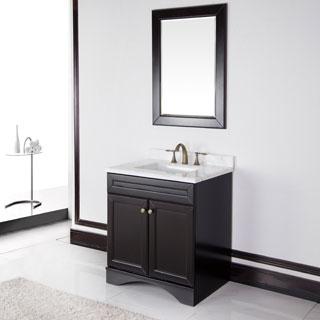 Corvus Espresso Cabinet with 30-inch Carrera Italian Marble Top Bathroom Vanity