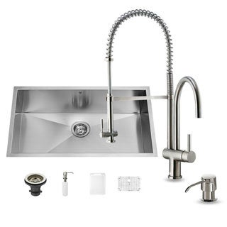 VIGO All-in-One 32-inch Undermount Stainless Steel Kitchen Sink and Faucet Set
