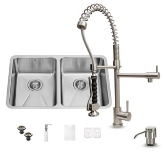 Vigo All in One 29-inch Undermount Double Bowl Kitchen Sink and Faucet Set