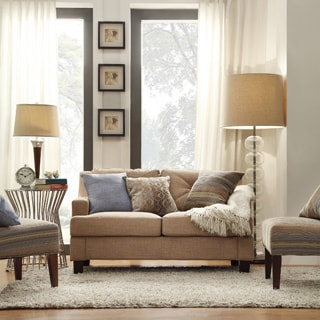 Inspire Q Middleton Camel Linen Tufted Sloped Arm Loveseat