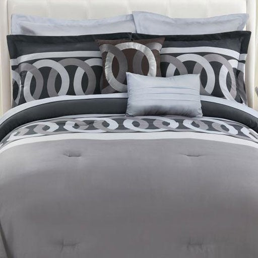 Grey Link Chain 8-piece Comforter Set