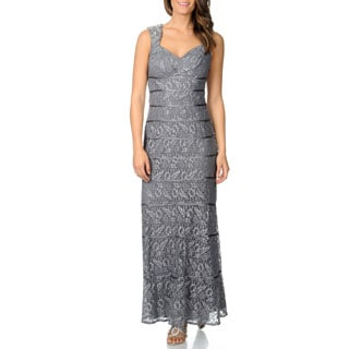 Ignite Evenings Women's All Over Metallic Lace Gown