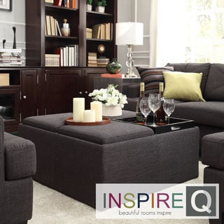Inspire Q Avenue Ebony Linen Tray Top Storage Cocktail Ottoman